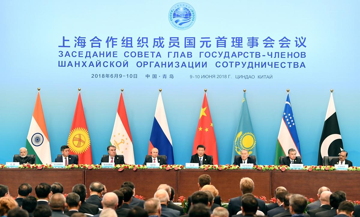 上合組織成員國領導人共同會見記者 習近平發表講話