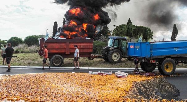 法國農民嫌稅太高 開卡車傾倒水果