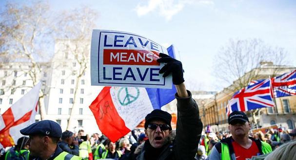 英国伦敦:脱欧支持者举行示威