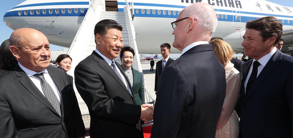 習近平抵達法國尼斯 前往摩納哥對摩納哥公國進行國事訪問