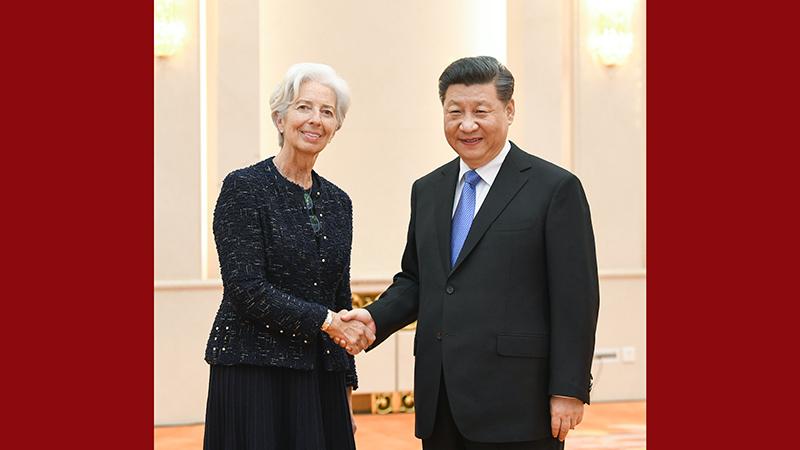 习近平会见国际货币基金组织总裁拉加德