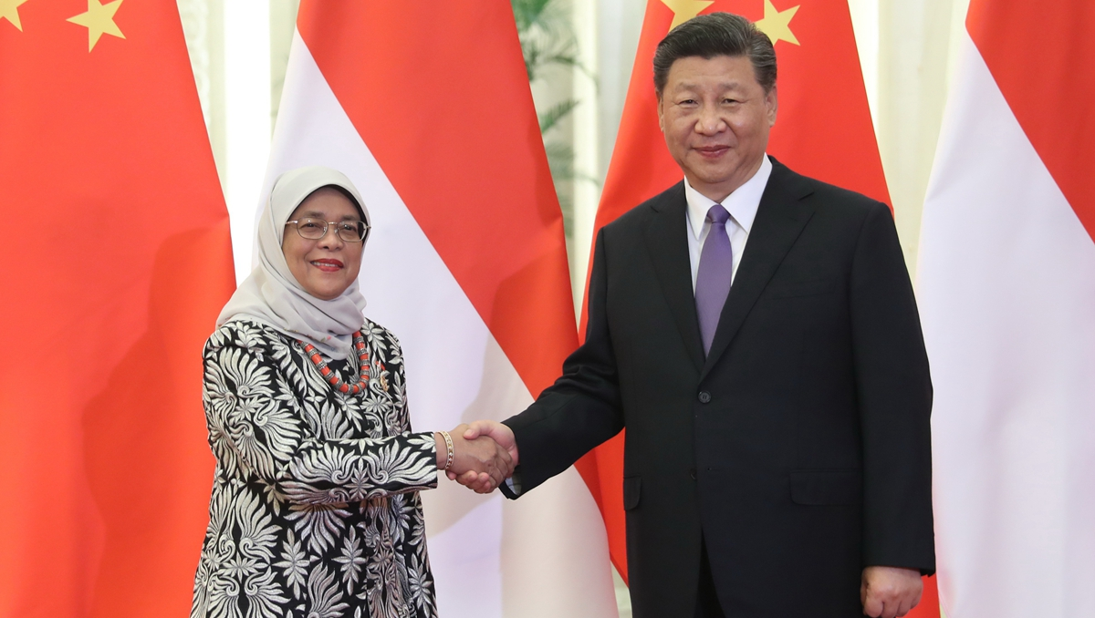 習近平會見新加坡總統哈莉瑪