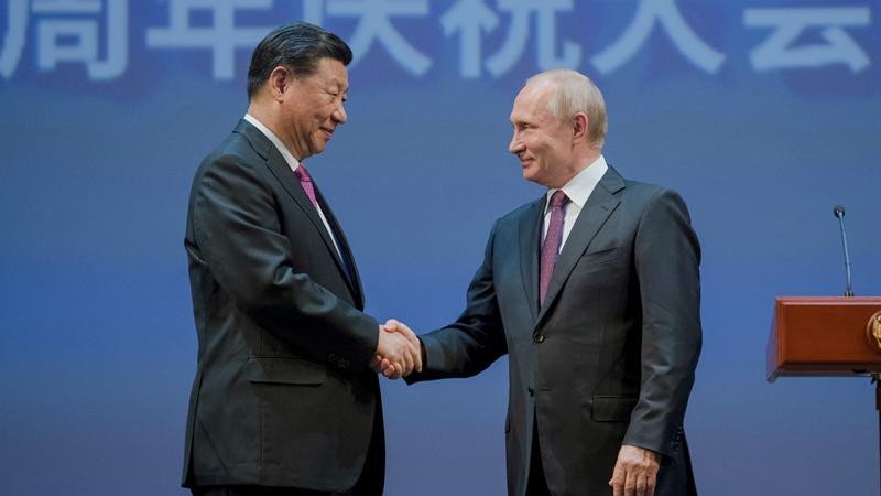 習近平和俄羅斯總統普京共同出席中俄建交70周年紀念活動