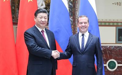 習近平會見俄羅斯總理