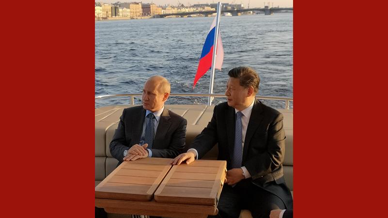 習近平同俄羅斯總統普京在聖彼得堡再次舉行會晤