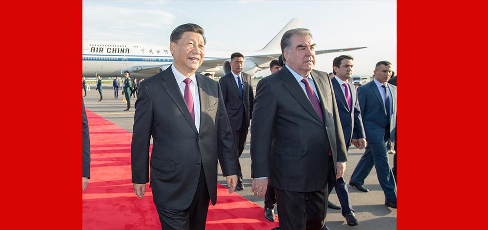 習近平抵達杜尚別開始出席亞信峰會並對塔吉克斯坦共和國進行國事訪問
