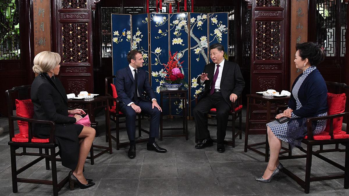 習近平夫婦在上海會見法國總統馬克龍夫婦