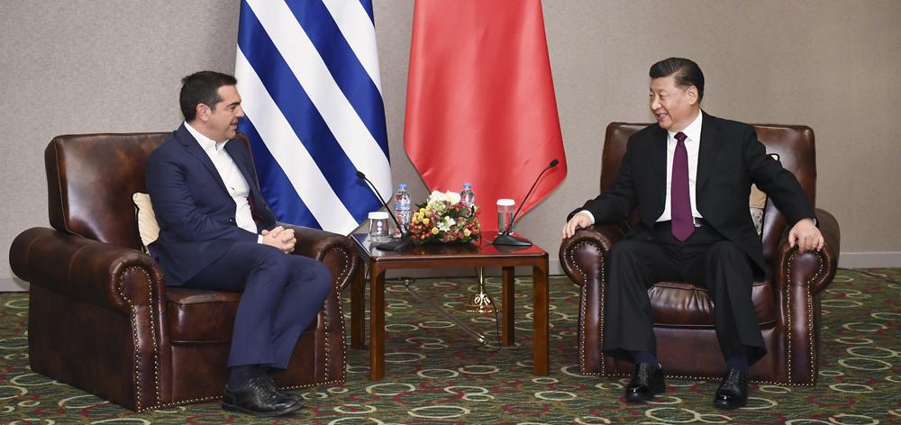 習近平會見希臘前總理齊普拉斯