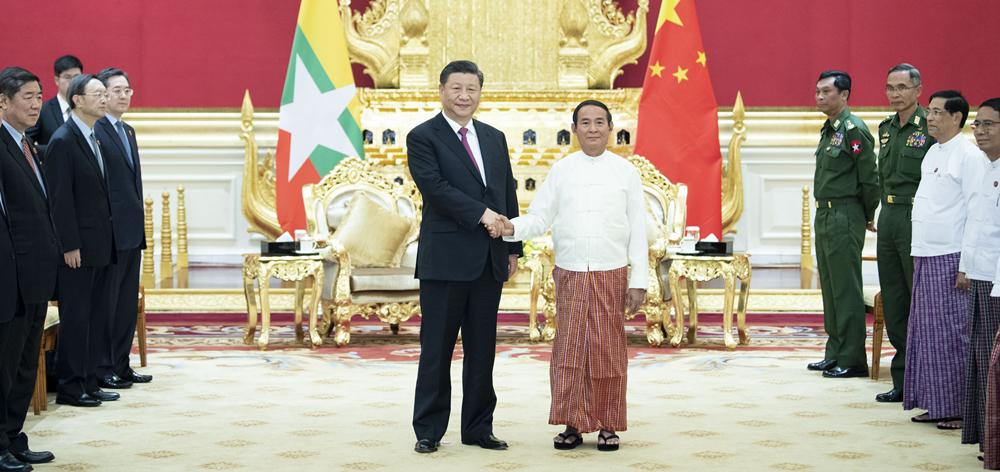 習近平同緬甸總統溫敏會談