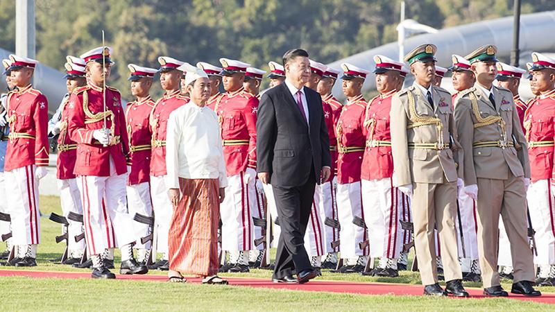 習近平出席緬甸總統溫敏舉行的歡迎儀式
