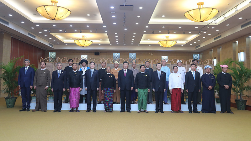 習近平同緬甸主要政黨領導人集體合影留念
