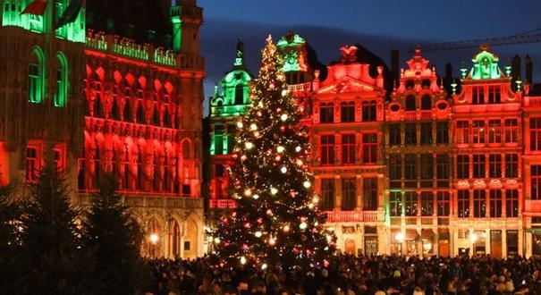 疫情下比利時首都點亮聖誕樹