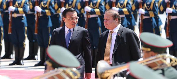 李克強舉行儀式歡迎巴基斯坦總理謝裏夫