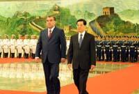 胡錦濤同塔吉克斯坦總統拉赫蒙舉行會談