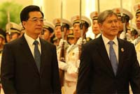 胡錦濤同吉爾吉斯斯坦總統舉行會談